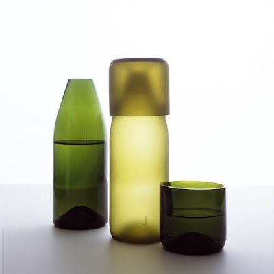 Green lidded carafes by tranSglass from Zwello