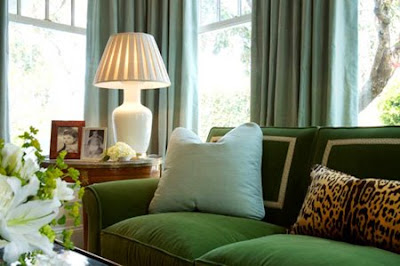 Sofa  Small Living Room on In A Luxurious Classic Living Room  A Green Sofa Features Back Pillows