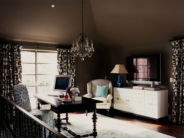 [betsy+burnham+home+office+with+chocolate+brown+walls+crystal+chandelier+white+credenza+drapes.jpg]