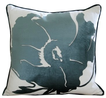 Teal and white floral throw pillow from Weego Home
