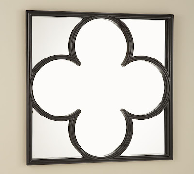 Black finish wood frame quatrefoil wall mirror from Pottery Barn