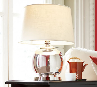 Round table lamp with a polished nickel base from Pottery Barn