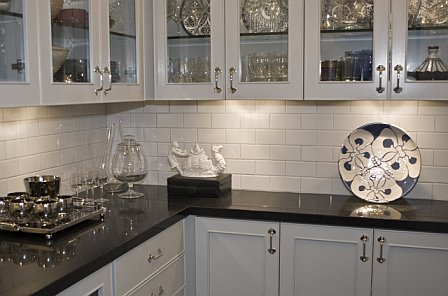 White Glass Subway Tile Backsplash Home Design Elements