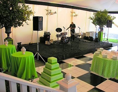Band area featured a black and white checkered dance floor above