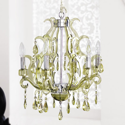 Green steel, acrylic and glass chandelier from Brocade Home