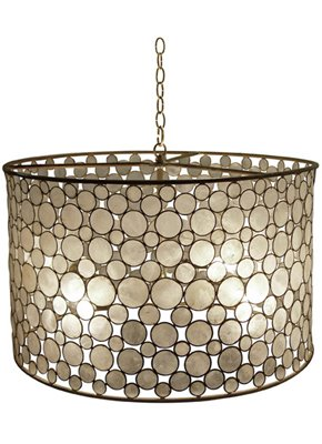Capiz shell Serena drum chandelier from Maison Luxe