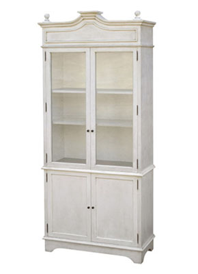 One piece entertainment center with clear glass, split doors and adjustable shelves from Maison Luxe