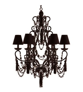 Black six light chandelier from Maison Luxe