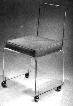 Lucite Desk Chair With Leather Seat From Plexi Craft   Lucite Desk Chair