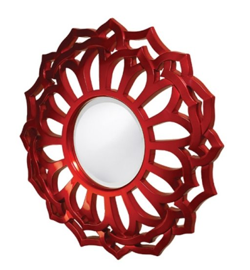 Red metallic round mirror from Plantation