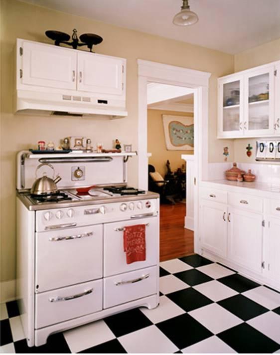 Joe Schmelzer Vintage Inspired Kitchen Black White Checker Board Floor