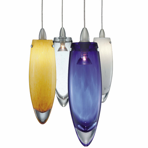 Blue, white, amber, clear and opal hand blown crystalline glass pendant lights from yLighting