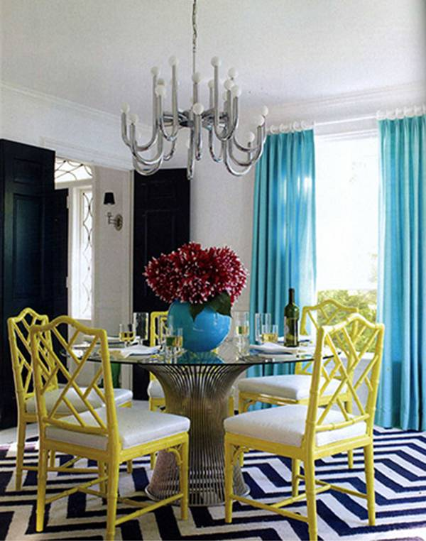 Dining room with yellow chairs modern diy art designs - Yellow dining room curtains ...