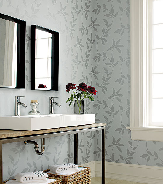 Bathroom with metallic and grey vine and leaf pattern wallpaper from Thibaut's Natural Resources Collection