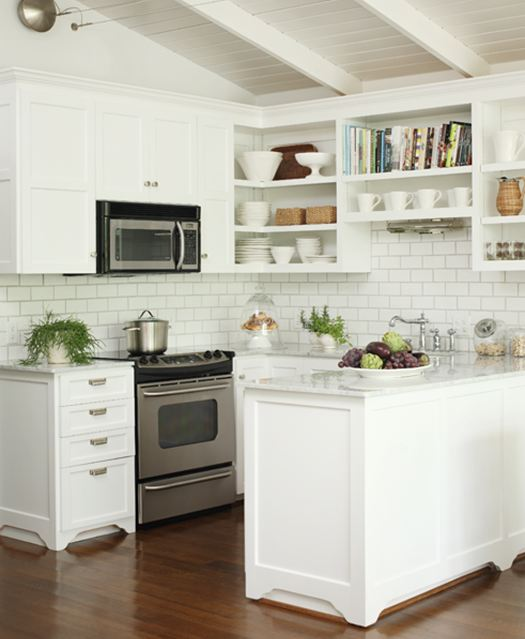 White subway tile backsplash White kitchen backsplash