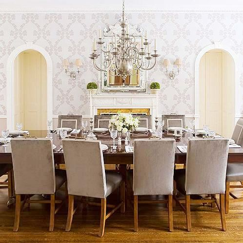 Dining Room on Modern Traditional Dining Room With Grey Upholstered Chairs With White