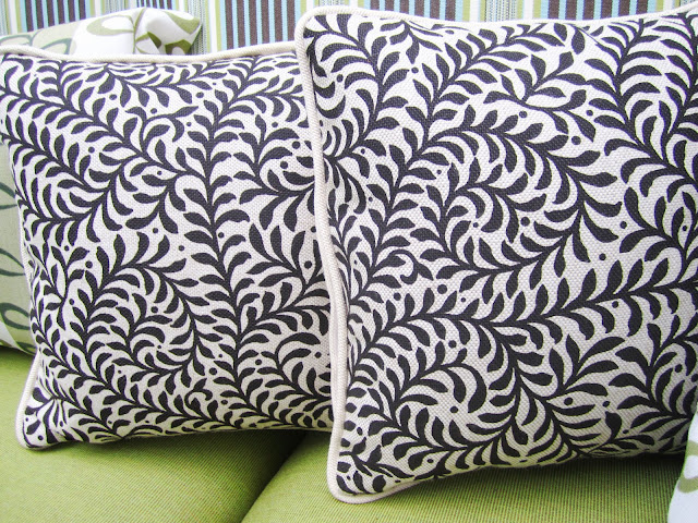 Two natural linen foliage printed pillows
