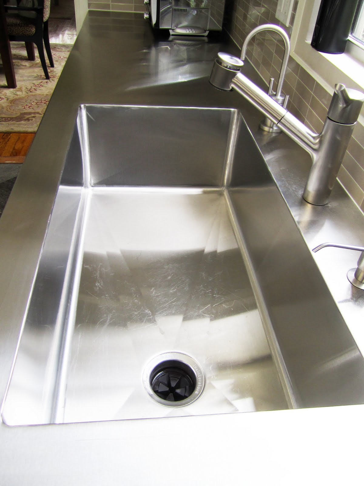 Cococozy cococozy q a architect client cook up a for Stainless steel countertop with integral sink