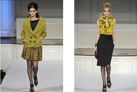 Two photos of models from Oscar de la Renta Pre-Fall Collection 2010