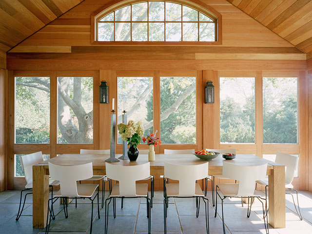 Modern rustic dining room with a lovely view above