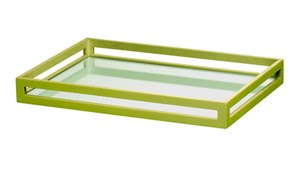 Green tray with cut out sides and a mirrored bottom from Inside Avenue