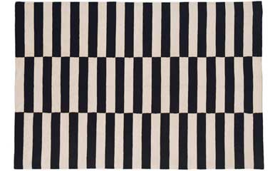 black and white rug with a drop step pattern