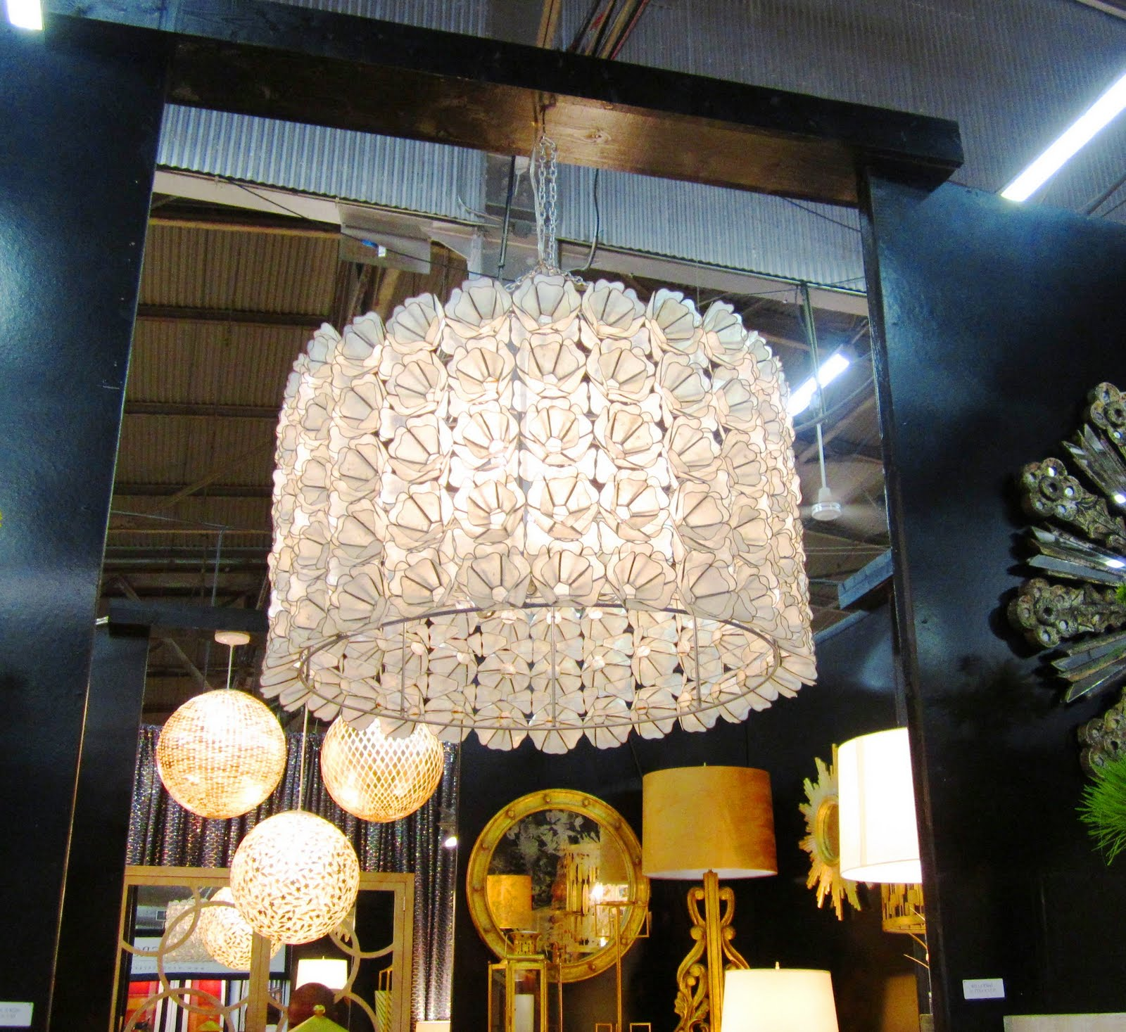 Capiz Shell Floral Chandelier Cococozy