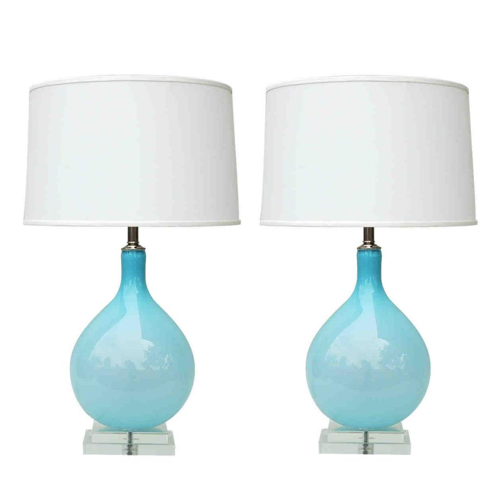 Elegant Light Blue Hand Blown Murano Glass Table Lamps By Joe Cariati With White  Shades
