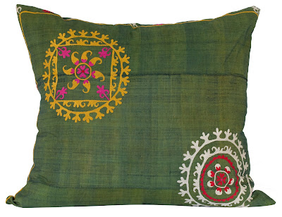 Green vintage Suzani pillows from Jayson Home & Garden