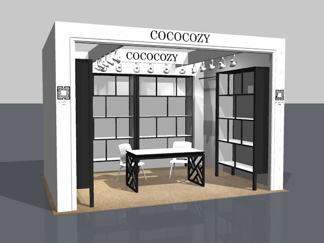 Final 3D rendering of the COCOCOZY booth for the New York International Gift Fair