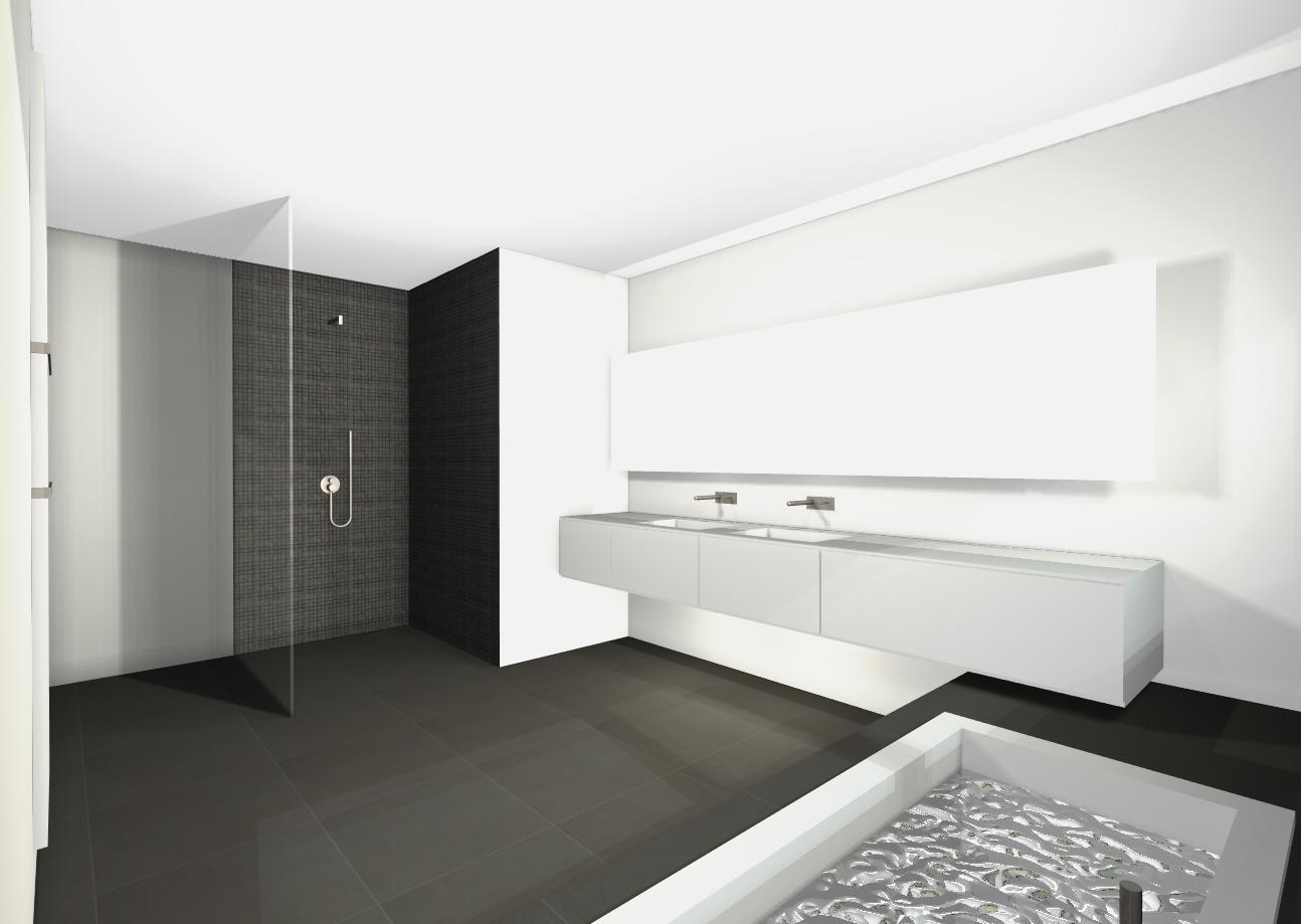 Wij bouwen ontwerp badkamer - Badkamer zwarte vloer ...