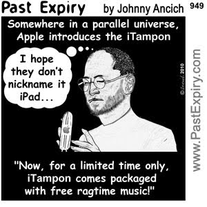 [CARTOON] Apple iTampon iPad.  images, pictures, advertising, Apple, cartoon, computers, spoof, technology
