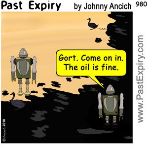 [CARTOON] Gulf Coast Oil Spill.  images, pictures, animals, cartoon, environment, health, pollution, robots, tragedy, oil