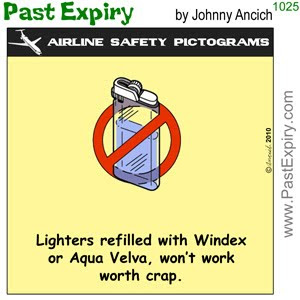 [CARTOON] Lighter Fluid Banned.  images, pictures, airlines, cartoon, pictogram, safety, spoof