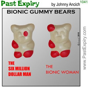 [CARTOON] Bionic Gummy Bears.  images, pictures, cartoon, entertainment, food, nuclear, robots, spoof, television, women, men