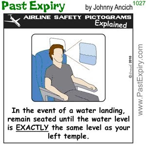 [CARTOON] Water Landing Airline Safety Tip.  images, pictures, airlines, cartoon, pictogram, safety