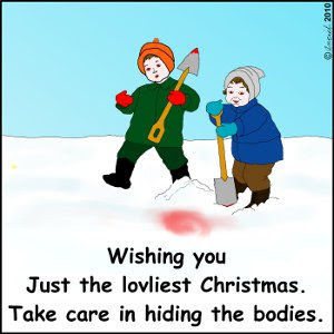 [CARTOON] Christmas Card Hell. cartoon, christmas, death, crime, hell, kids