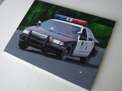 Car Art: Chevrolet Caprice LAPD - Acrylic on canvas 30x40 cm