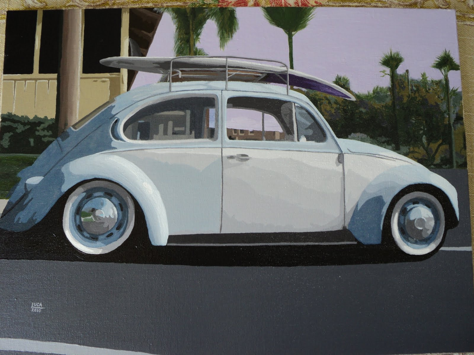 Car Art: Volkswagen Beetle - Acrylic on canvas 30x40 cm