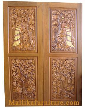 บานประตูไม้สักแกระสลัก