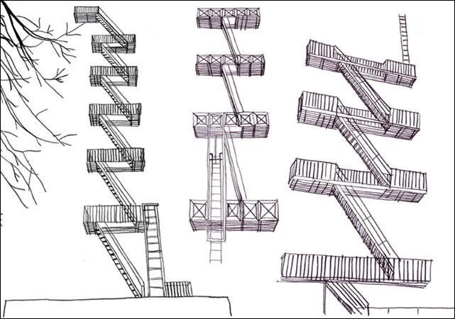 Joseph Winters Fire Escape Ladder : Landscape spot fire escapes