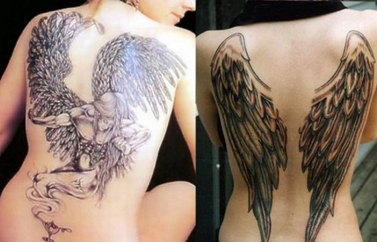 Sad Warrior Angel Temporary Back Body Tattoo