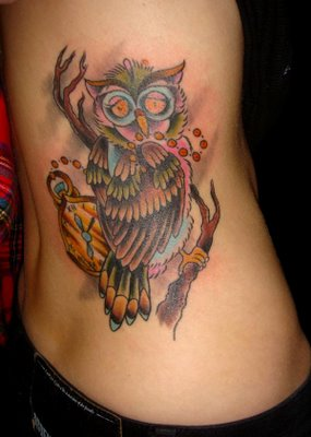 Women Side Body Owl Tattoos Picture 4