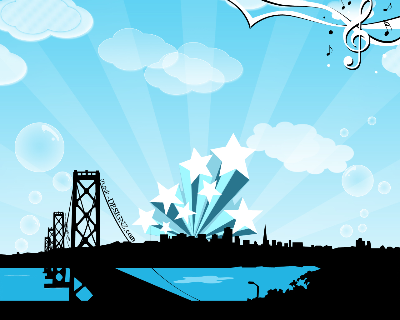 vector, art, vexel, wallpaper, city, bridge
