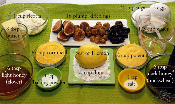 Fluted Polenta and Ricotta Cake mise en place