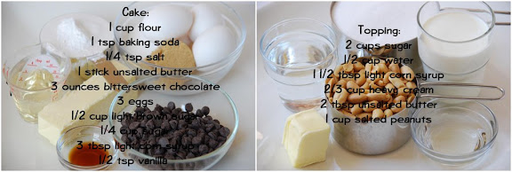 Ingredients for Caramel-Peanut-Topped Brownie Cake