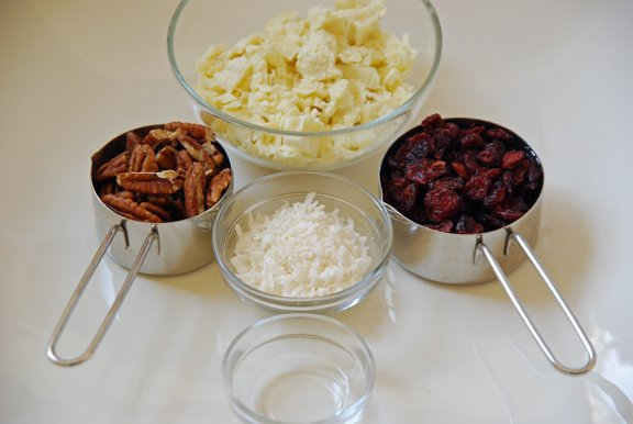 Ingredients for White Chocolate Cranberry Coconut Bark