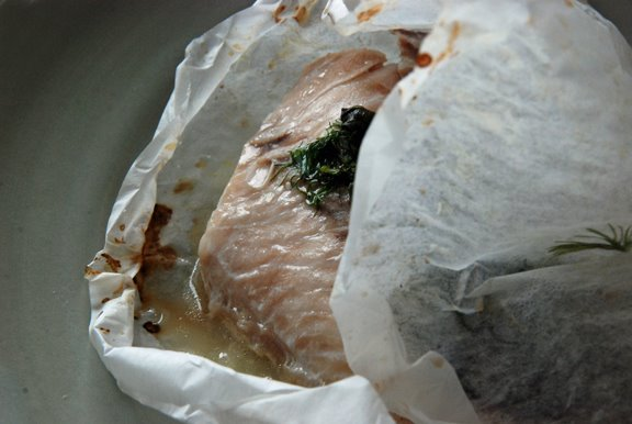 Snapper with fennel en papillote