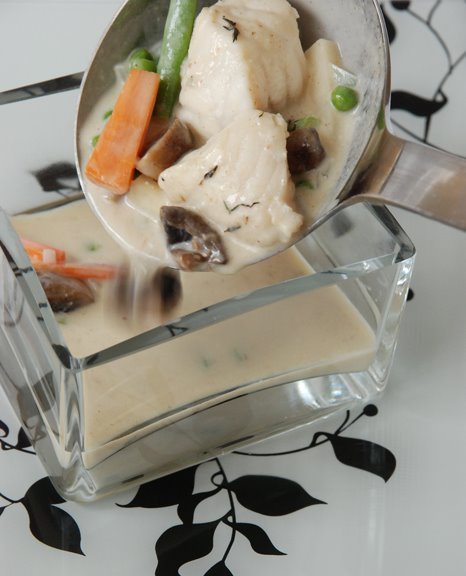 Blanquette de Lotte aux Petits Lgumes (Monkfish in White-Wine Cream Sauce with Vegetables)