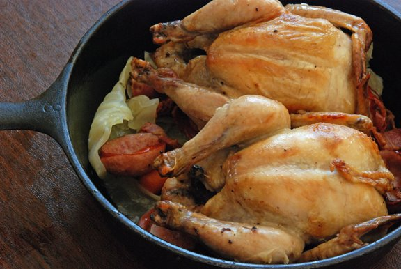 Pintadeaux au Chou (Guinea Hen with Cabbage)